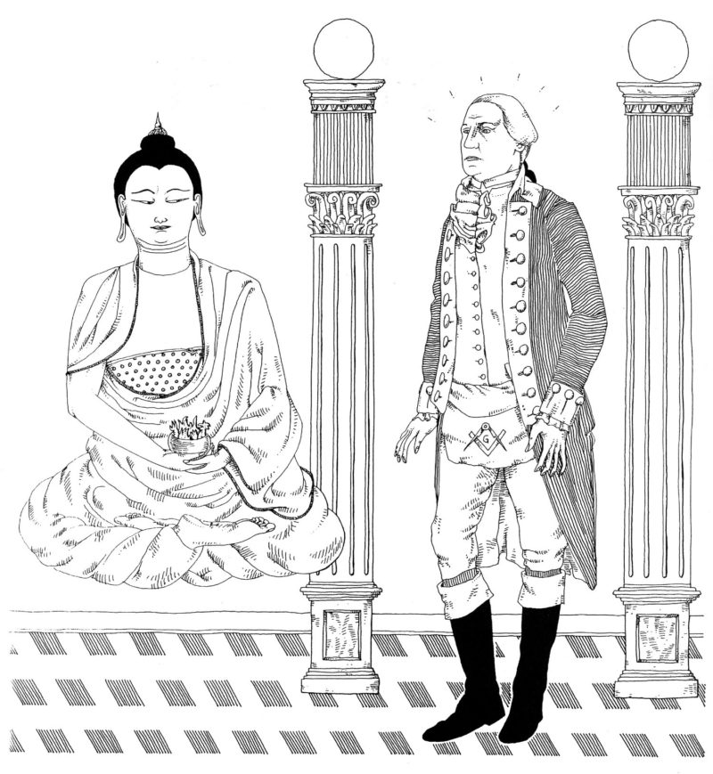 washbud - While performing an obscure Masonic ritual George Washington inexplicably recalls the Guatama Buddha from Nirvanna.